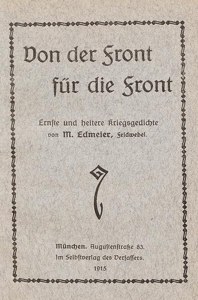 Image from object titled Von der Front für die Front ernste und heitere Kriegsgedichte