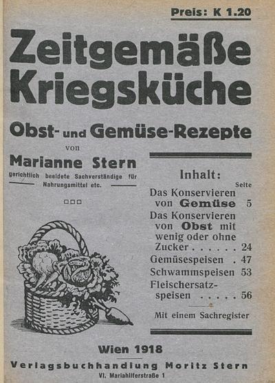 Image from object titled Zeitgemäße Kriegsküche Obst- und Gemüse-Rezepte