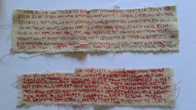 "Image from object titled Scrisori din inchisoare ""cusute"" pe bucati de camasa / Letters from prison ""embroidered"" on pieces of my shirt"