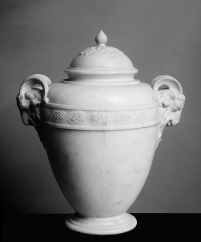 Lidded Jar with Ram's Head Handles and a Border of Interlacing Pattern