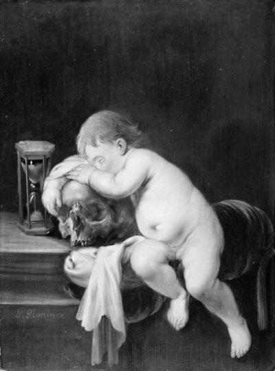 Boy sleeping on a Skull