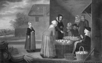 Women and Children by a Fruit Seller