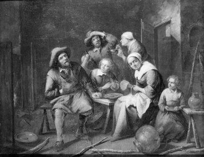 Et interiør med håndværkere og bønder der spiser og drikker