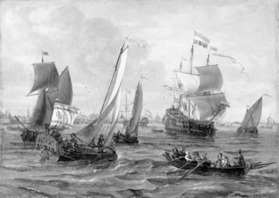 Image from object titled Skibe og robåde på havet ud for Amsterdam