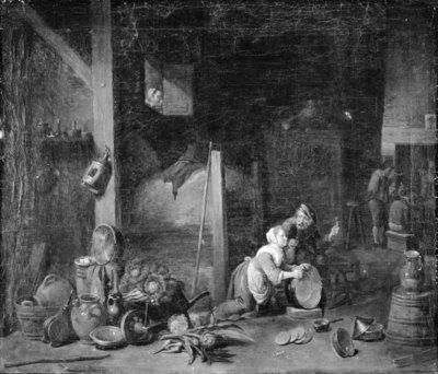 A Servant Girl Scrubbing a Brass Cauldron