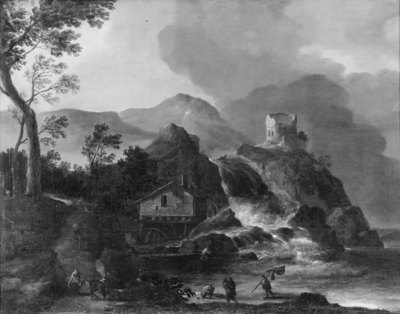 Mountain Landscape with a Watermill and Castle Ruins