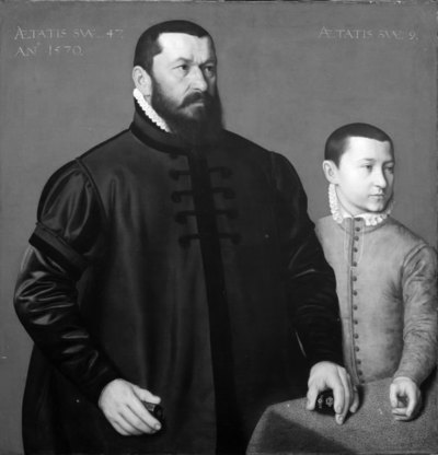 Portrait of the Nuremberg Goldsmith Hans Lencker (1523-1585) and his 9-year old son Elisius the Younger