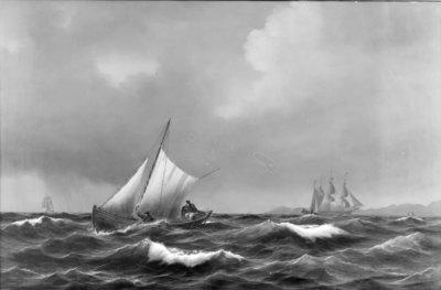 En dansk lodsbåd i uroligt vejr. I baggrunden Kullen