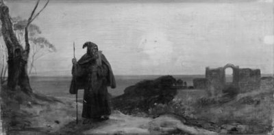 Evening Landscape with an Old Monk
