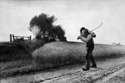 Aften. En bonde på vej hjem fra marken