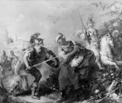 The Fight between Tancred and Argante With Clorinda in the Background