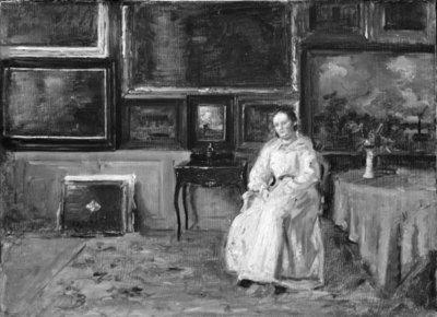 Interiør fra dagligstuen på St. Hans Torv med figur