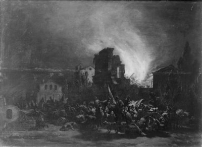 Nocturnal Fire and Looting in a Town