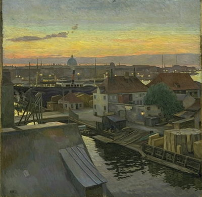 View over Wilders Plads at Christianshavn. Evening