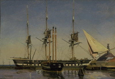"""The Fregate """"Niels Juel"""" near the Main Guard on Nyholm"""