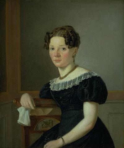 Dame med strikketøj. En af kunstnerens søstre (?)