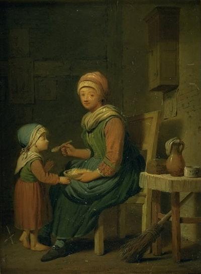 En bondekone, som giver sin datter noget at spise