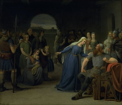 The Danish Queen Thyra Danebod Trying to Soften the Heart of her Husband, Gorm the Old, towards some Christian Captives