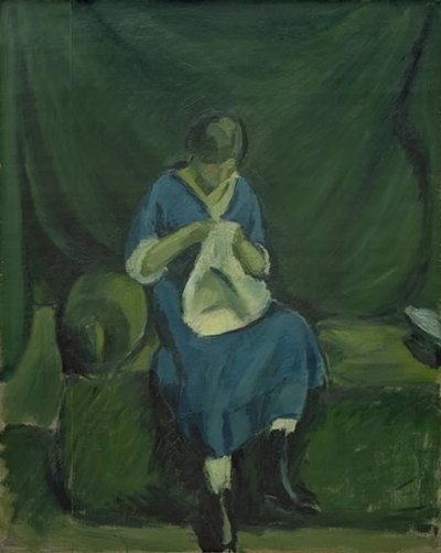 A Young Girl Sewing