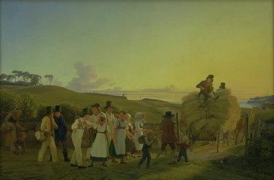 Bønder vender hjem fra marken med det sidste læs korn