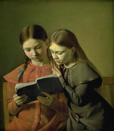 Image from object titled The Artist's Sisters Signe and Henriette Reading a Book