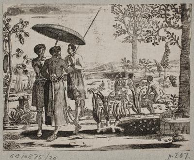 Image from object titled Orientaler og tjenere, herunder en, som bærer en parasol