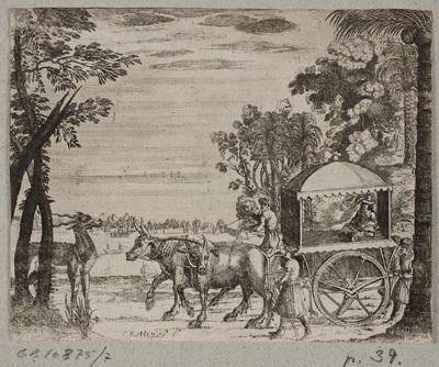 Image from object titled Oksekærre med en europæisk rejsende