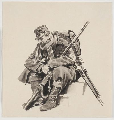 Siddende soldat