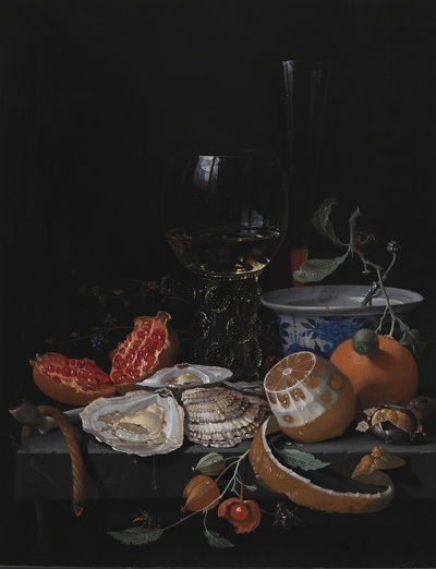 Oysters, Fruit and a Wineglass on a Stone Table