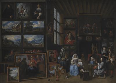 Et billedgalleri med en kunstner, der maler en kvinde og en pige. Allegori over malerkunsten