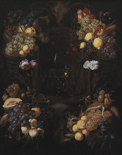 Cartouche with Garlands of Fruit and a Wine Glass