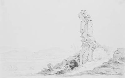 Ruin i forgrunden af landskab med akvadukt (Claudius' akvadukt, Monte Cavo i baggrunden).