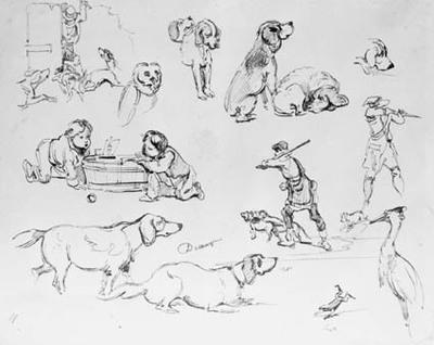 Skitseblad med studier af hunde og jægere, legende børn, fugle.