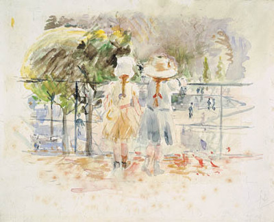 Two little girls at a balustrade by the lake in the Jardin des Tuileries, Paris