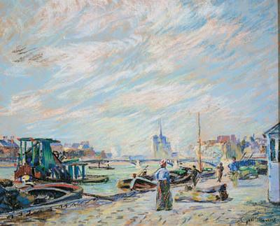 Udsigt over Quai Sully, nu kaldet Quai Henri IV, med Notre Dame i baggrunden