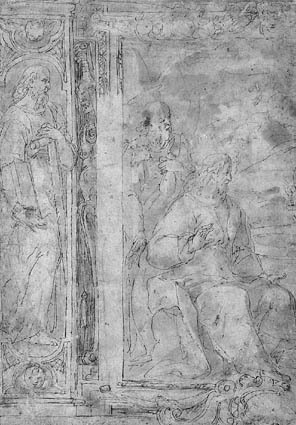 Two panels for a wall decoration. On the left Simon the apostle, on the right the left half of a depiction of Christ and the woman of Samaria
