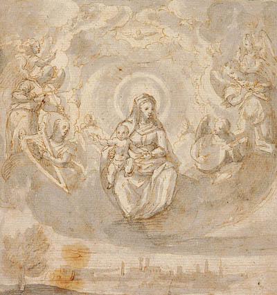 Jomfru Maria med Jesusbarnet, siddende på skyer omgivet af engle; The Virgin and Child sitting in the clouds surrounded by angels