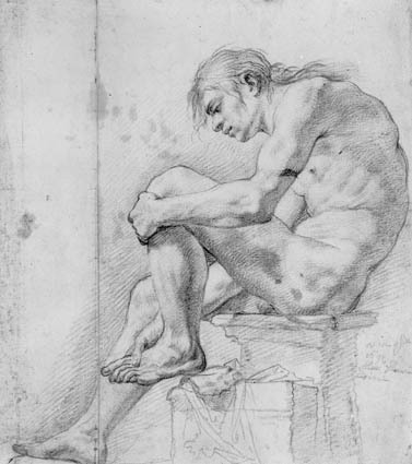 Siddende nøgen mand i profil mod venstre; Seated male nude in profile to the left