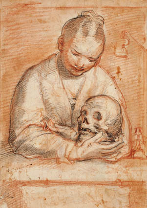 St Mary Magdalen with a skull in her arms