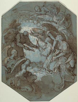 St. Peter og englene modtager en sjæl i paradiset