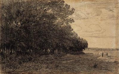 A la lisière d'une forêt; En lille gruppe høje træer ved Macherin skoven