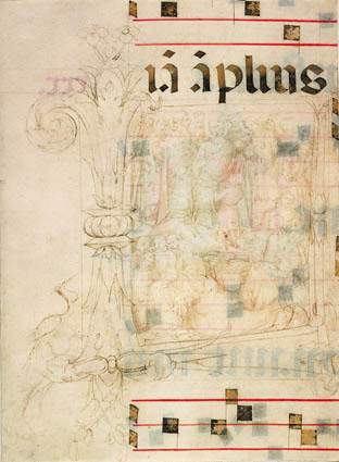 The miracle of the loaves and fishes in an initial L, fragments of text, and musical  staves