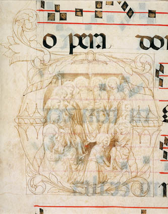 Christ washing the feet of the Apostles in an initial D, fragments of text, and musical staves