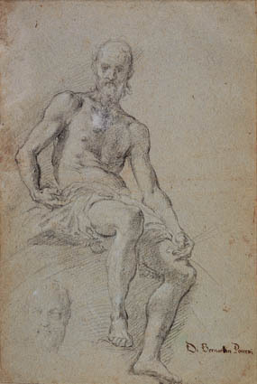 Seated man half naked; at the lower right a faint study for his head
