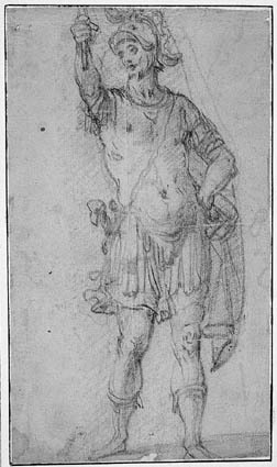 Roman soldier standing with a banner