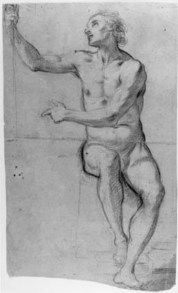 Seated male nude with a staff in his right hand seen from the front