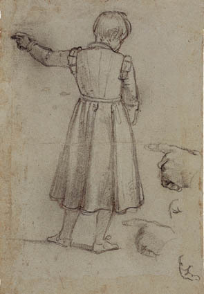 Standing boy seen from behind pointing left, and four stidues for his left hand