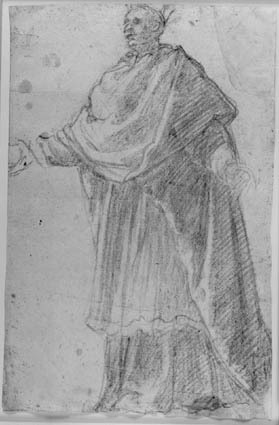 A cleric standing with arms extended