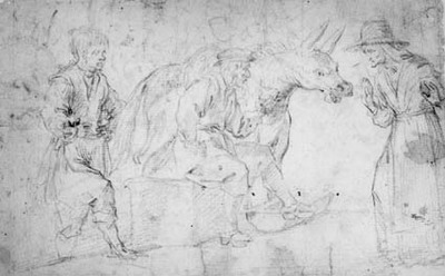 A man seated next to a braying donkey, behind him a boy, in front of him an old woman