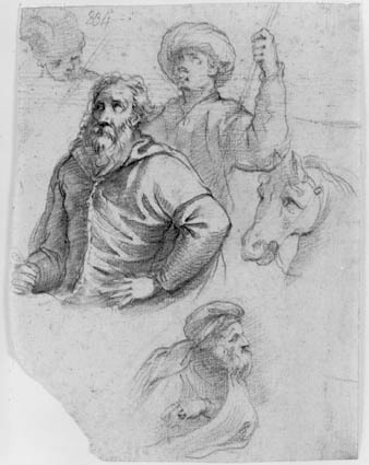 Figurestudies: head of a child, half-length of a bearded old man, behind him a turbaned youth with a cane, to the right a horse's head, and below a half-length, bearded old man  in profile to the right wearing a Phrygian cap